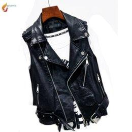 Neuheit lederjacken online-Mode Ärmel große Kunstleder Motorradjacke Weste Lederweste Zippers Tops Neuheit Damen Street G1007