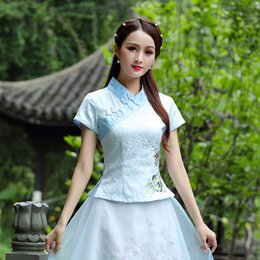 china ladies top clothing Coupons - Blue Hanfu Embroidery Flower Blouse Oriental Shirts Cotton Tops Cheongsam Ladies Daily Short Sleeve Ancient China Clothing