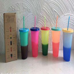 2019 placas cerâmicas de coração Venda quente 24 oz cor mudando copo BPA livre magia copo de plástico sippy Eco caneca de plástico com palha e tampa 5 cores definir A04