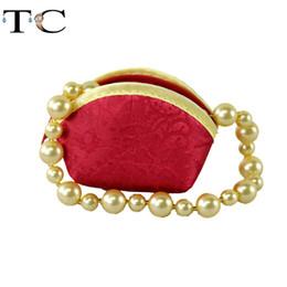Sacs à main en tissu en Ligne-6pcs gros / Lots rouge chinois main classique en soie brodée sac en tissu cadeau Bague Boîte à bijoux bague Bracelet sac de rangement Coin Pouch