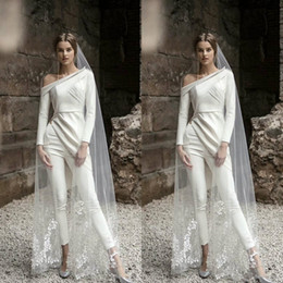 knöchellänge einteilige kleider Rabatt 2020 neue elegante Braut Hosen-Anzug Langarm Brautkleider Bohemian Zwei Stücke Knöchel-Längen-Brautkleider Boho Vestidos De Novia 754
