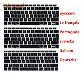 2019 langue française Russe Allemand Anglais Portugais Italien Suédois Langue Couverture du clavier pour MacBook 13.3 A1932 2018 Release TouchID promotion langue française