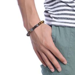 Китайские каменные браслеты онлайн-Глаз камень Личность 8.5mm Китайский стиль Street Hip-Hop браслет мужской браслет нержавеющая сталь Lion Тигровый