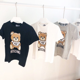 t shirt england Promo Codes - Kids Designer T Shirt Luxury Boys Bear Pattern Short Sleeves Girls Brand Letter Printed Top Tees 2019 Summer New Kids Clothes
