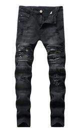 Jeanshose falten online-NEUE Männer BIKER JEANS Gerade Jeans Hohe Elastizität gebrochene Lochhose neue Tarnhose Herren Camouflage Falthose Dünne dünne lässige JEANS