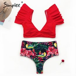 531aaf6402 wholesale Vintage print two pieces women bra sets Deep v ruffles high waist  bathing suit swimwear Push up sexy elegant lingerie