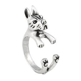 Estilo retro Vintage plata lindo gran danés perro anillo hombre Boho Chic medio dedo anillos para mujer joyas mujer mejor amigo bebé regalo a granel desde fabricantes