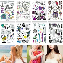 26c77902a 14.8*21cm YQ Small Temporary Tattoo Sticker Feather Word Dreamcatcher  Classic Fake Black Body Waterproof Tattoo Hand Neck for Kids Women Men