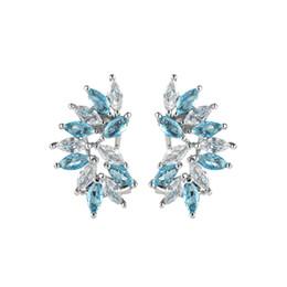 90% de rabais 6 paires / lot plus récent cadeau de vacances bijoux élégant Topaz Bleu pierres précieuses Stud Ear 925 Sterling Silver Plated USA Stud boucles d'oreilles de mariage ? partir de fabricateur