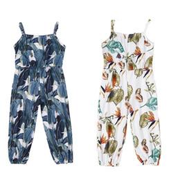 Meninas boho roupa on-line-crianças roupas de grife meninas florais romper infantis Macacão de impressão folha Suspender 2019 Verão Boutique Boho calças cinta bebê C6578