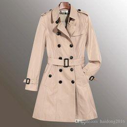 Frau lang graben xxl online-Supply Fashion Damen London Brit Trenchcoat Middle Long England Slim Jacken Zweireiher Marke Solid Long Outwear Größe S-XXL