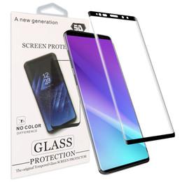 Samsung s6 curva online-Cristal templado de borde curvo 3D para iPhone X Iphone 7 Samsung S9 S9 Plus Protector de pantalla fácil de usar para S8 Note 8 S7 EDGE S6 EDGE Plus
