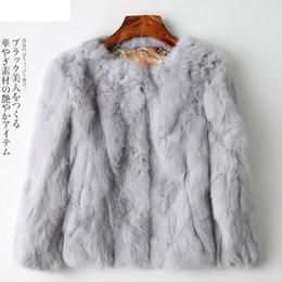 Pele de coelho curto on-line-Elegante Casacos De Pele De Coelho Mulheres Inverno Curto Quente Macio Casaco De Peles Fêmea De Pelúcia Casaco Casuais Outerwear Plus Size Moda Quente