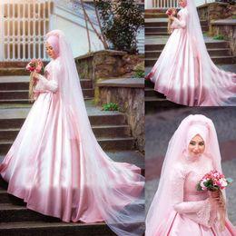 2019 écharpe rose marine Robes de mariée musulmanes rose foulard en satin hijab dentelle perlée robe de bal robe de mariage Dubaï arabe Boho robe de mariée robe de mariée écharpe rose marine pas cher