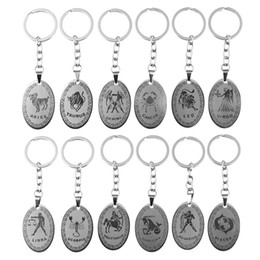 signs for cars Promo Codes - 12 Constellations Stainless Steel Keychains Pisces Aries Leo Virgo Pendant Key Chain Key Rings Vintage Zodiac Sign Key Holder Gift for Cars