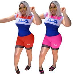 b3efce27844b Diseñador FIL para mujer Chándal Conjunto de pantalones cortos de dos  piezas Camiseta de manga corta Sudadera + Pantalones cortos Trajes de marca  Body Suit ...