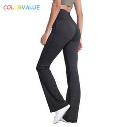 нейлоновые штаны для йоги Скидка Colorvalue плюс размер с высокой талией фитнес-брюки с широкими ногами брюки женщины полная длина нейлон йога брюки с широкими ногами Sportwears #40516