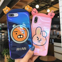 2019 iphone bleu 3d case Etui 3D Blue Light pour iPhone X XR XS Max Bande Dessinée Etui de téléphone lapin noir pour iPhone 8 7 plus 6 6S Plus iphone bleu 3d case pas cher