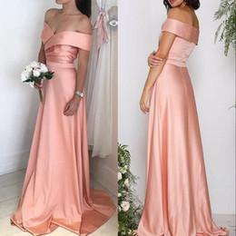 pfirsich gold Rabatt New Peach Elegant Satin Lange Brautjungfernkleider Portrait A Line Zipper Zurück Plus Size Boho Hochzeitsgast Kleid