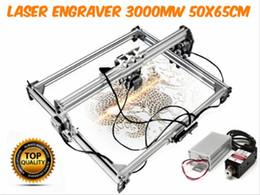 Cnc de escritorio online-50 * 65 cm 3000MW Azul CNC Máquina de grabado láser 2Axis DC 12V DIY Grabador de escritorio de madera Router / Cutter / Printer + Laser Gafas