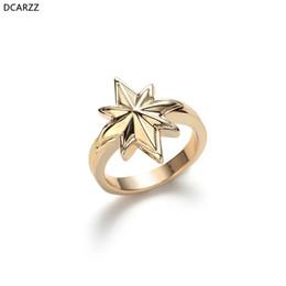 2020 anello di fidanzamento stile coreano Capitan Marvel Gold Star squilla le donne L'Endgame Cosplay monili di aggancio amore anello coreano accessori di stile anello di fidanzamento stile coreano economici
