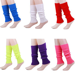 Leggings de lana caliente online-10 colores Dulces colores Calentadores de piernas Mujer Niños Niñas Calcetines de punto Crochet Calcetines de lana Calentador Bebé Leggings Calcetines de rayas verticales