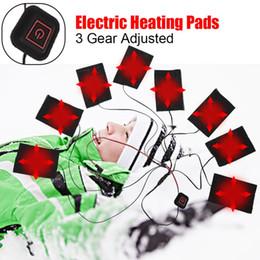 2019 impressão de vidro barato 1 Conjunto USB Elétrica Aquecida Jaqueta Almofada de Aquecimento Ao Ar Livre Themal Inverno Quente outono Colete de Aquecimento Pads para DIY Roupas Aquecidas