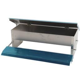 catena di uccelli di plastica Sconti Mangiatoia automatica per mangime per polli Alimentatore automatico in alluminio aperto Trough Blue Silver