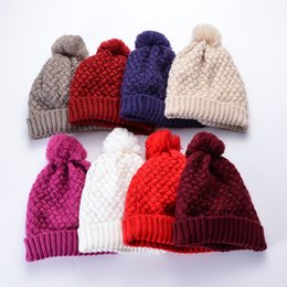 paare hüte Rabatt Mode gestrickte Pompon Hut kreative paar Winter warm häkeln Beanie Mütze im Freien einfarbig Ski Hut TTA1728