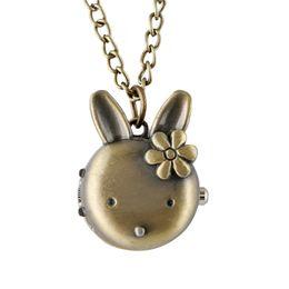 Argentina Bronce retro lindo conejo encantador diseño reloj de bolsillo cuarzo analógico collar cadena relojes para mujeres niñas regalo de cumpleaños cheap rabbit chain Suministro