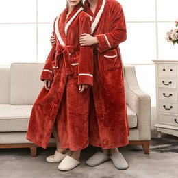 6617c80b76 Soft Winter Flannel Coral Fleece Couple Lover S Robe Kimono Bathrobe  Nightgown Thick Warm Long Sleeve Sleepwear Bath Night Gown