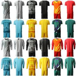 Pantalones de jersey para niños online-2019 2020 Hombres Portero Niños camiseta de fútbol en blanco GK Portero jerseys Conjuntos Nombre Número camisas del fútbol corto de manga larga Pantalón hombre Juventud