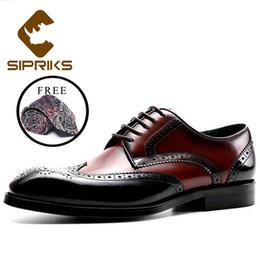 Sipriks Herren Brogues Schuhe Classic Man Blake Oxfords Wingtip Kleid Schuhe Business Formal Herrenanzug Lederschuhe Weinrot Schwarz