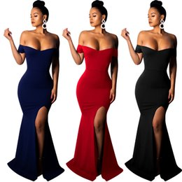Vestido de deslizamento de ombro on-line-Mulheres elegantes vestidos de festa à noite bodycon fora do ombro sem encosto alto deslizamento longo dress cintura alta vestidos