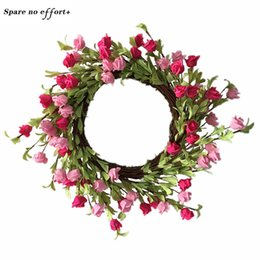 christmas wreaths for door Promo Codes - Round 56cm Rose wreath for Wedding decoration Easter Door Decoration Hawaii Party Wianki Na Wlosy christmas garland