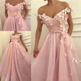 2019 selena gomez vestido marino 2019 fuera de los hombros, vestidos de noche rosados con apliques florales en el frente, partido dividido, vestido de fiesta BC0908