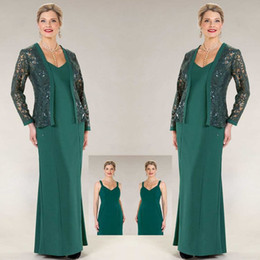 ursula dresses Coupons - 2020 Ursula Long Mother of the Bride Dresses With Lace Jacket Scoop Neck Ankle Length Wedding Guest Dress Plus Size Women Formal Outfit