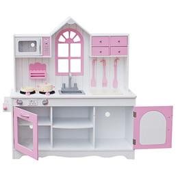 Giocattoli di legno della cucina del bambino online-I più nuovi regali di Natale Assemblare Casa delle bambole in legno Giocattolo in legno Miniatura Case delle bambole Cucina in legno per bambini Cucina giocattolo Pretend Play Set