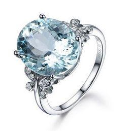 farfalla topaz Sconti Anello a forma di farfalla in pietra di topazio blu naturale alla moda placcato con cinturino in platino con zircone intarsiato