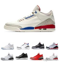 Nike Air Jordan Retro 3 3s дизайнер мужской баскетбол международный полет американская повседневная обувь QS Katrina Tinker JTH линия метания белый черный цемент кроссовки от