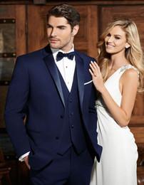 Canada Nouveau populaire bleu marine meilleur homme marié robe de mariée, Excellent Business Business Suit Costume Party Prom Suit (veste + pantalon + gilet + cravate) NO: 360 Offre