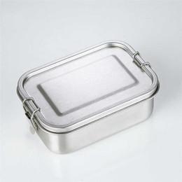 japão saco de plástico Desconto Aço inoxidável reutilizável almoço Container 2 Compartimento Bento Box Eco-Friendly metal de armazenamento de alimentos lancheira para a escola escritório refeições Prep A05