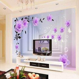 2019 rosen stereos Benutzerdefinierte 3D Wallpaper Tapete Europäischen 3D Stereo Purple Roses Große Wand Wohnzimmer Schlafzimmer TV Hintergrund Wandbild Tapete rabatt rosen stereos