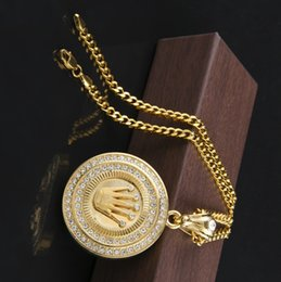 2019 collar redondo eslabones de cadena de bronce 2020 nueva joyería de Hip Hop de la cadena hombre de la manera 24K chapado en oro corona de rey hacia fuera helado colgante redondo Bling collar largo pendiente cubana
