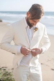 hochzeitskleid männer elfenbein Rabatt Elfenbeinweißes Strandhochzeitskleid, Herren Strandhochzeit Bester Anzug 3-teiliges Set (Jacke + Weste + Hose) Herren Best Man Dress