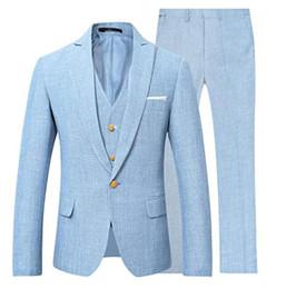 Мужские льняные смокинги онлайн-Небесно-голубой льняной мужской костюм Fow Wedding Tux 2019 Мода на заказ жениха смокинг мужской выпускной костюм с задней Vent Blazer (куртка + брюки + жилет + галстук)