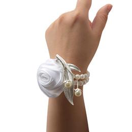 Mão artificial Flores Flores De Pulso De Casamento Decoração Do Partido Dançando Pulseiras Jóias para As Mulheres Charm Bracelet supplier dance bracelet flowers de Fornecedores de flores de pulseira de dança