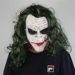 Máscara assustador Halloween Palhaço Dark Knight Batman Clown Latex Máscara New Halloween peruca Chapelaria Cosplay Props de