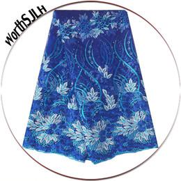 2019 líquido para vestidos de casamento materiais Royal Blue alta qualidade Últimas Tecido Lace Francês Com Contas do vestido de casamento de malha Net Laces material Africano Tecido Swiss Lace líquido para vestidos de casamento materiais barato