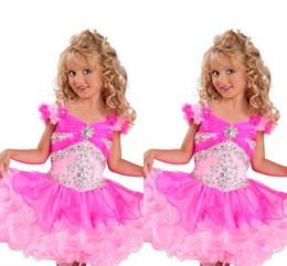 Rosa Hand Made Flower Capped Sleeve Mädchen Pageant Kleider Voll Perlen Kristalle Top Tiered Rock Little Toddler Infant Communion Kleider Kinder von Fabrikanten